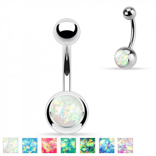 Piercing nombril en acier à boules et opale de synthèse