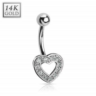 achat piercing nombril en or blanc 14 carats avec coeur ajour pav de zirconium. Black Bedroom Furniture Sets. Home Design Ideas