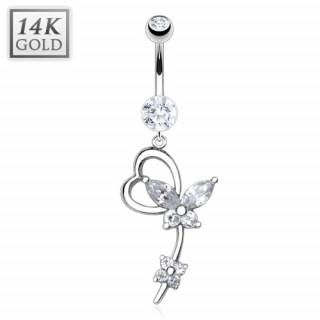 Piercing nombril en or blanc 14 carats à coeur, papillon et fleur