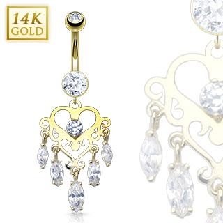 achat piercing nombril en or 14 carats chandelier de coeur. Black Bedroom Furniture Sets. Home Design Ideas