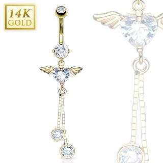 achat piercing nombril en or 14 carats coeur avec ailes d 39 ange. Black Bedroom Furniture Sets. Home Design Ideas