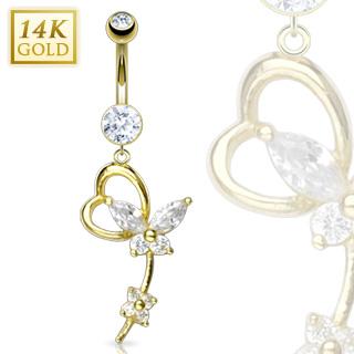 Piercing nombril en or 14 carats à coeur, papillon et fleur