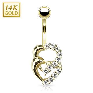 achat piercing nombril en or 14 carats coeurs crois s avec zirconiums. Black Bedroom Furniture Sets. Home Design Ideas