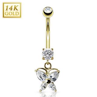 Piercing nombril en or 14 carats à pendentif papillon