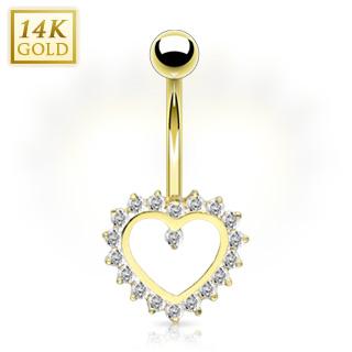 achat piercing nombril en or 14 carats avec coeur contours de gemmes. Black Bedroom Furniture Sets. Home Design Ideas
