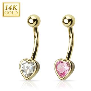 Piercing nombril en or 14 carats avec coeur serti