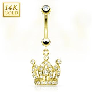 achat piercing nombril en or 14 carats avec couronne pav e de gemmes. Black Bedroom Furniture Sets. Home Design Ideas