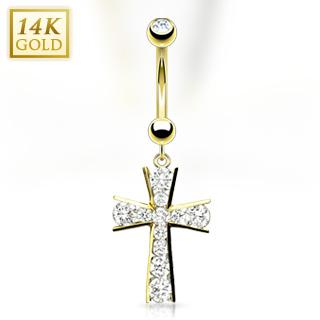 achat piercing nombril en or 14 carats avec croix pav e de gemmes. Black Bedroom Furniture Sets. Home Design Ideas