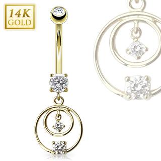 achat piercing nombril en or 14 carats avec duo d 39 anneaux sertis. Black Bedroom Furniture Sets. Home Design Ideas