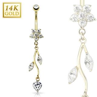 Piercing nombril en or 14 carats avec fleur et vigne