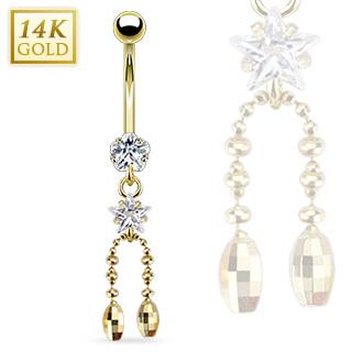 achat piercing nombril en or 14 carats avec fleur toile et globes facettes. Black Bedroom Furniture Sets. Home Design Ideas
