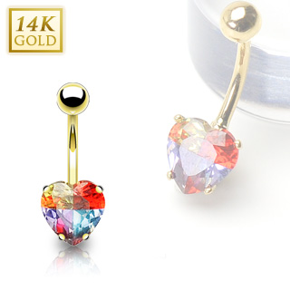 Piercing nombril en or 14 carats avec gemme en coeur multicolore
