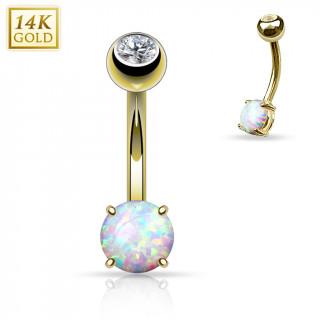 achat piercing nombril en or jaune 14 carats avec petite opale synth tique. Black Bedroom Furniture Sets. Home Design Ideas