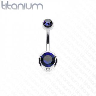 Piercing nombril en titane G23 à boules serties - Bleu