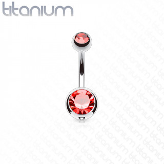 Piercing nombril en titane G23 à boules serties - Rouge
