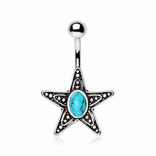 Piercing nombril étoile antique à Turquoise