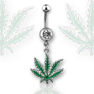 Piercing nombril feuille de cannabis