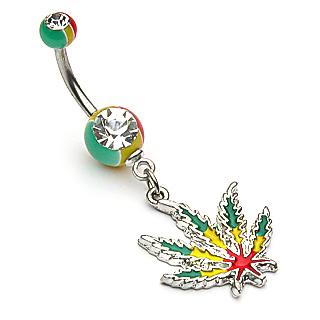 Piercing nombril cannabis à feuille Rasta