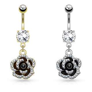 Piercing nombril fleur bicolore à bords pavés de strass