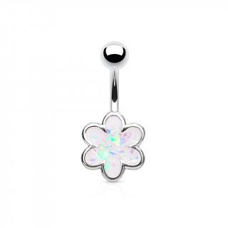 Piercing nombril à fleur d'opale