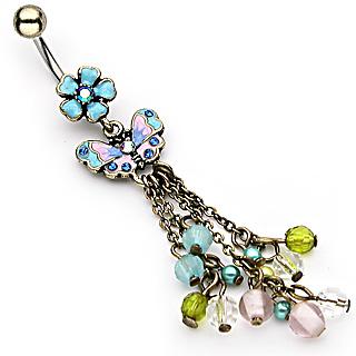 Piercing nombril fleur, papillon et chaines perlées