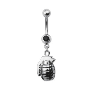 Piercing nombril grenade sertie