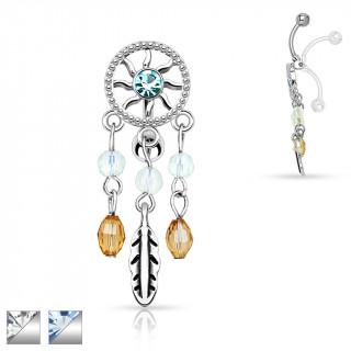 achat piercing nombril invers attrape r ve avec plume et perles. Black Bedroom Furniture Sets. Home Design Ideas