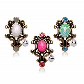 achat piercing nombril invers cadre style antique avec opale. Black Bedroom Furniture Sets. Home Design Ideas
