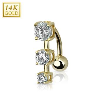 Piercing nombril inversé en or 14 carats à trio de zirconium