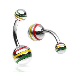 Piercing nombril Jamaican Stripe Balls