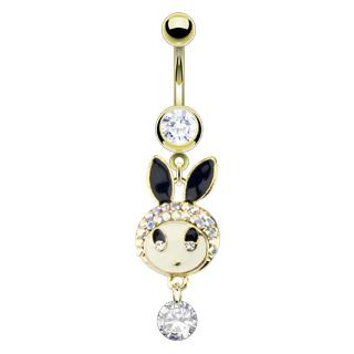 Piercing nombril lapin doré à oreilles noires