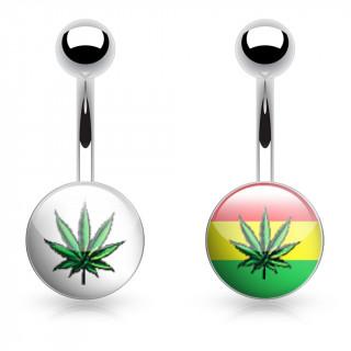 Piercing nombril logo feuille cannabis