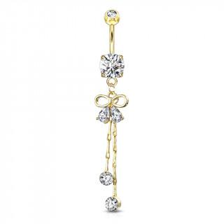 Piercing nombril long pendentif à ruban et strass suspendus - Plaqué or