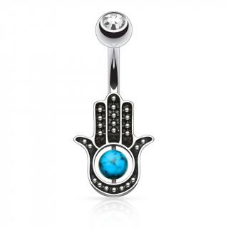 Piercing nombril à main de Fatima / Hamsa avec perle de Turquoise
