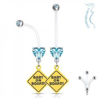 Piercing nombril panneau bébé à bord à coeur strass - Bleu aqua