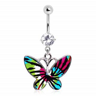 Piercing nombril papillon vert, bleu et rose à taches noires