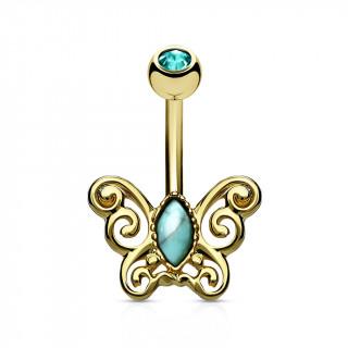 Piercing nombril papillon vintage à turquoise - doré