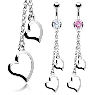 Piercing nombril pendentif double coeur