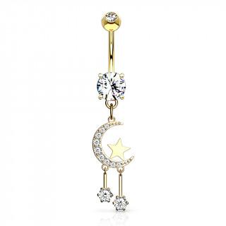 Piercing nombril pendentif lune à étoiles suspendues - Plaqué or