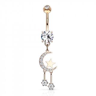 Piercing nombril pendentif lune à étoiles suspendues - Plaqué or rose