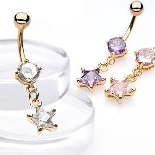 Piercing nombril pendentif pierre en étoile