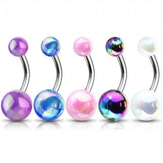 Piercing nombril perle teinte métallisée