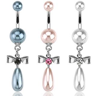 Piercing nombril perles et noeud papillon serti