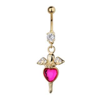 Piercing nombril petit ange doré à grand coeur rose