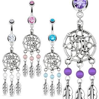 Piercing nombril piège à rêves avec plumes et perles
