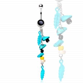 Piercing nombril pierres et plumes de turquoise