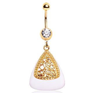 Piercing nombril plaqué or à triangle blanc avec arabesques