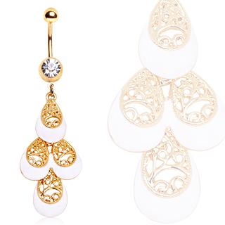 Piercing nombril plaqué or larmes en arabesques