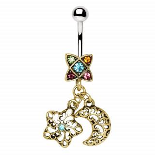 Piercing nombril rétro à pendentifs lune et étoile arabesque