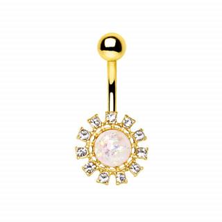 Piercing nombril soleil éblouissant à Opale et strass